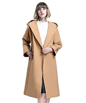 LvRao Cappotto Lungo da donna con Cappuccio e Cintura Manica lunga Invernale Cappotti Trench Giacca Parka (Cammello, CN XL)