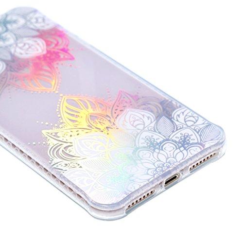 iPhone 8 Plus Schutzhülle, iPhone 7 Plus Transparent Case Rosa Schleife Ultra Dünn Premium TPU Softcase Silikon Hülle Mandala Bunte Plating Muster Durchsichtig Kratzfeste Handyhülle Bumper Schale für  Weiß Ahornblatt