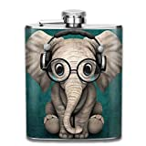 FGRYGF Frasco de Acero Inoxidable Mini Shot Flask Elephant Baby Headphone Flasks Whiskey Container Flask Pocket for Adults