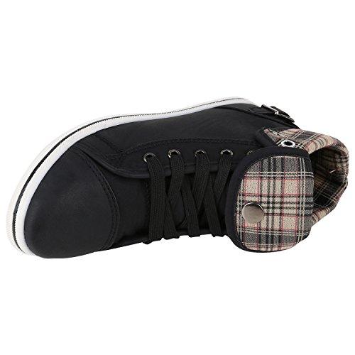 Damen Sneakers High Top Sportschuhe Zipper Stoffschuhe Schwarz Karo