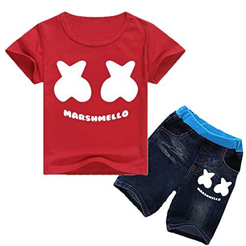 9c6a3d7e7 QYS Enfants DJ Smiley Face Print Shirt + Shorts Chothing Set,Red,140cm