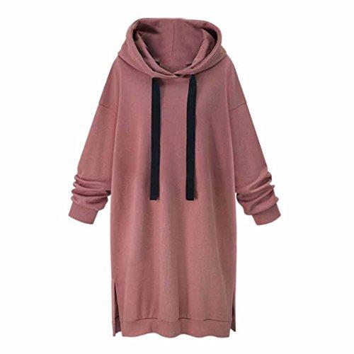 Hoodies Kleid, Hansee Mode Frauen Langarm Beiläufige Lose Baumwolle Kapuzenpullover Jumper Langes Kleid (L, Rosa) (Rosa Junior Kleider)