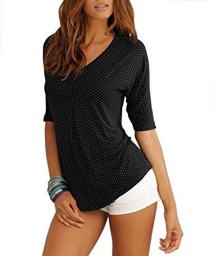 TrendiMax Damen Sommer T-Shirt V-Ausschnitt Lässige Stretch Falten Bluse Tops Halbarm Baumwollshirt Oberteile