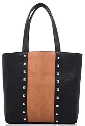 Kukubird Alice Ecopelle Colori Contrastanti Studded Tote Bag Black