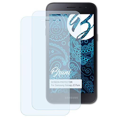 Bruni Schutzfolie für Samsung Galaxy J2 Pure Folie, glasklare Bildschirmschutzfolie (2X)