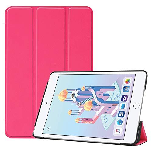 Ratesell Smart Case Schutzhülle für iPad Mini 5. Generation 2019 / iPad Mini 4 2015, dreifach faltbar, Mikrofaser-Innenfutter, automatische Schlaf- / Weckfunktion, hot pink