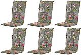 Madison 6 x 8 cm Luxus Hochlehner Auflage A 042 Nadine Grey, grau mit Blumen, 120 x 50 x 8 cm