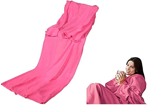 Premium Kuscheldecke mit Ärmeln ROSA (140 x 180 cm) Ärmeldecke Fleece Wärmedecke Wärme Ärmel Decke Plaid Pink - perfekte Wärmeisolierung