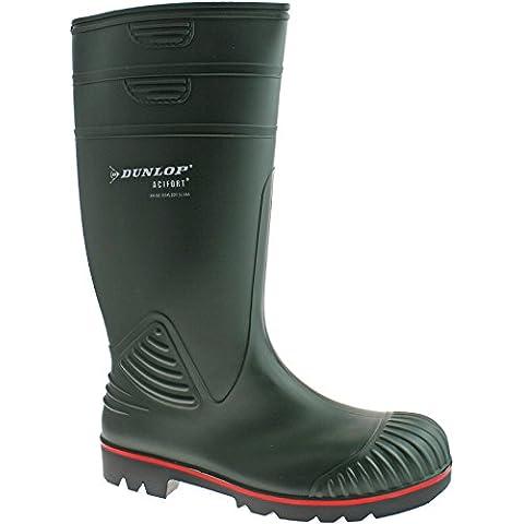 Dunlop actifort da uomo in pvc verde con punta in acciaio sicurezza stivali w138e taglia UK
