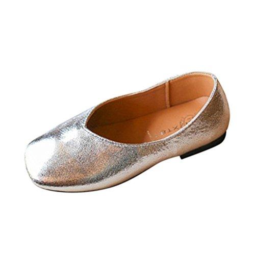 PU-Leder Prinzessin Schuhe Kleinkind Kinder, DoraMe Baby Mädchen Mode Sneaker Weichen Boden Beiläufige Schuhe Flachen Freizeitschuhe Einzelne Schuhe für 3-5.5 Jahr (4.5-5 Jahr/Size(CN):29, Silber) (Leder Weichen Mädchen Weißen Stiefel)