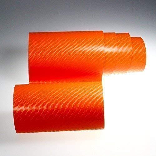 Autofolie 4D Carbon Orange 152cm breit BLASENFREI mit Luftkanäle 3D Flex Folie Auto