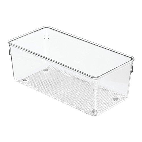 InterDesign Linus Schubladenorganizer, mittelgroßer Schubladeneinsatz aus Kunststoff für Besteck und andere Utensilien, durchsichtig (Küche-schrank-schublade-boxen)