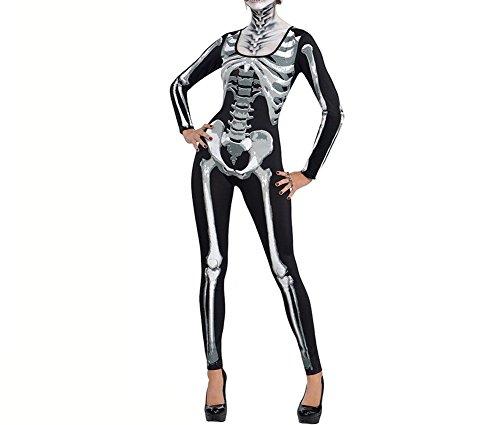 Kostüme Halloween Frauen Lustige Für (Ruiyige Frauen Halloween Party Knochen Druck Bodycon Kostüm Schwarz)