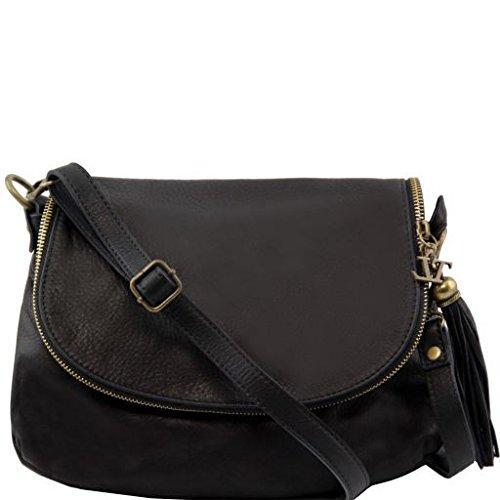 Tuscany Leather 81412234, Sac bandoulière pour femme Noir Noir