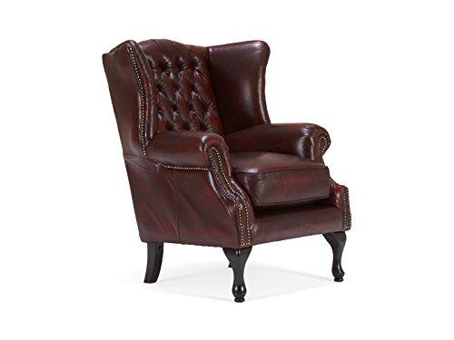 massivum Sessel Chesterfield Eton 86x100x87 cm aus Echt-Leder in Rot Loungesessel