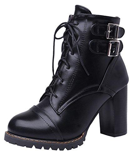 YE Damen Chunky High Heels Stiefeletten Blockabsatz Plateau mit Schnallen Schnürung 9cm Absatz Herbst Winter Schuhe Short Ankle Boots Schwarz