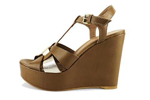 MICHEL BATIC sandali zeppe donna marrone pelle platino AG458 (36 EU)