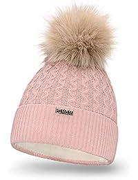 ba50b513d0d6eb PaMaMi® Damenmütze Wintermütze Strickmütze mit Bommel, Innenfleece | warme  Strickwintermütze für Damen ...