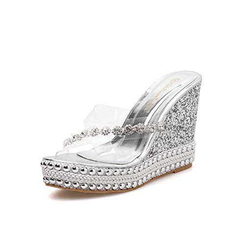 XLY Damen Glitzer Plateau Sandalen Criss Cross Wedges Slide Sandale Thick Bottom Slip On Sommer Pantoletten Schuhe,Silver,37 Criss Cross Wedge