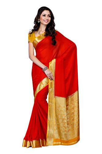 Mimosa Women'S Creap Silk Saree With Blouse,Color:Red(3200-2077-RED-GLD)  available at amazon for Rs.1499