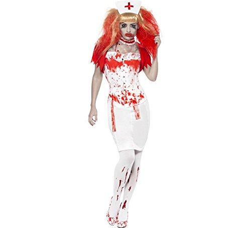 Smiffys - Blood Drip Nurse Costume, Farbe:Weiss - Rot;Größe:S