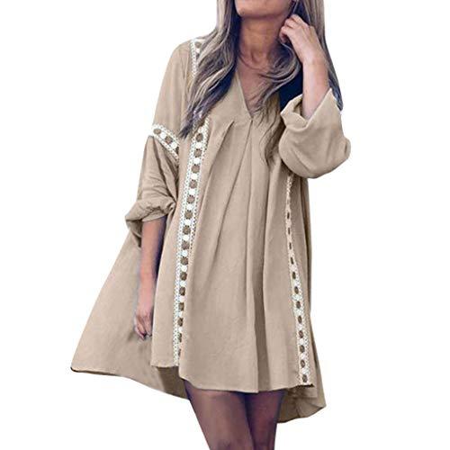GNYD Damen Kleider Sommer Lange Ärmel,Mode Herbst V Ausschnitt Lace Stitching Fold Temperament Lazy Beach Dress