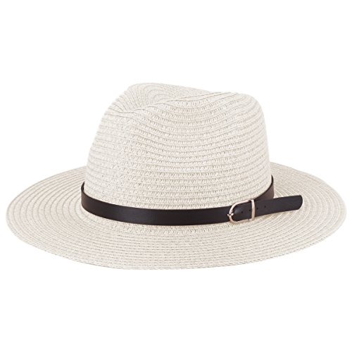 YOPINDO Sombrero de Paja Estilo Fedora de Panamá Sombrero de ala de ala  Ancha Plegable Unisex 7ec1878ff39d