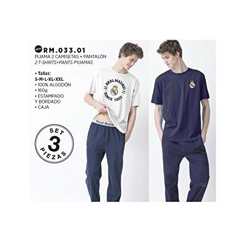 Pijama Real Madrid aulto verano 3 piezas dos camisetas un pantalón – S