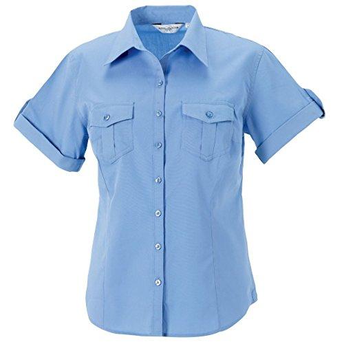 Russell Collection Femme roll-sleeve à manches courtes pour homme Bleu - Bleu