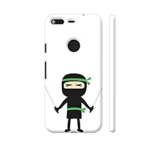 Colorpur Google Pixel Cover - Green Ninja With Weapons Printed Back Case