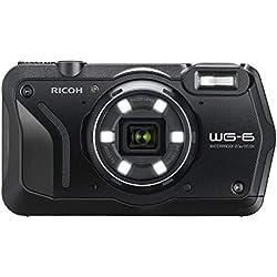 RICOH WG-6 Noir Compact étanche de 20 MP images haute résolution, écran LCD 3 pouces, résistant aux chocs de 2, 10 m, mode sous-marin éclairage annulaire avec 6 ledspour macro photographie