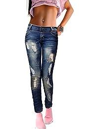 if she Damen Skinny Denim Jeans Hose extrem zerrissen blau verwaschen mit Flicken Used Effekt figurbetont