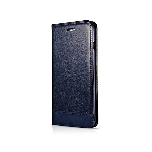 Mixed Color Stitching Style Double Side Magnetverschluss Ultra Slim Premium Leder Tasche mit Kickstand Card Slots für iPhone 6 / 6s ( Color : Black ) Blue