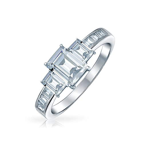 Bling Jewelry 2 CT Emerald Cut 3STEIN CZ Engagement Ring 925 Sterling Silber - Engagement Ring Cz 2ct