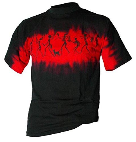 Aboriginal Churinga Bushfire T-Shirt Stone painting in schwarz-rot Schwarz