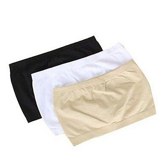 Museya-3-non-colori-base-Layer-elasticizzato-tubo-reggiseno-Bandeau-Top-femminile-Pad-cassa-wrap-taglia-L-nero-bianco-nudo