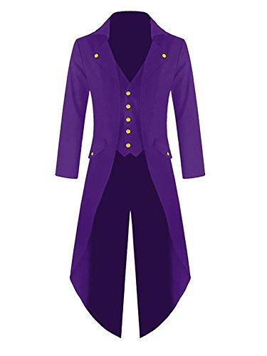 Pxmoda Herren Steampunk Vintage Frack Jacke Gothic Victorian Kleid schwarz Steampunk Coat Uniform Kostüm (Violett, X-Large)