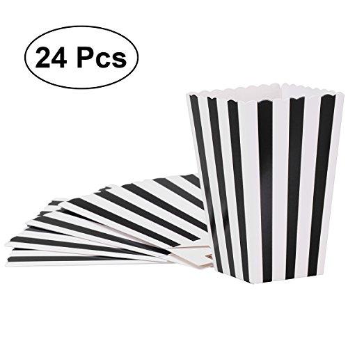 TOYMYTOY Popcorn-Boxen, Popcorn-Papiertüten-Stripe-Box für Kino Dessert Tische Hochzeit Bevorzugungen (schwarz) (Lebensmittel-etiketten Für Die Partei)