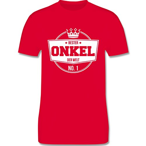 Shirtracer Bruder & Onkel - Bester Onkel der Welt - Herren T-Shirt Rundhals Rot