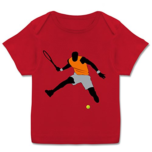 Sport Baby - Tennis Squash Sprung Tennisball - 56-62 (2-3 Monate) - Rot - E110B - Kurzarm Baby-Shirt für Jungen und Mädchen in verschiedenen Farben