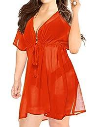 002c64256bb LA LEELA Ladies Beach Wraps and Cover ups Women's Bohemia Beach Dress Short  Sleeves Boho Drawstring Swimwear for Holiday…