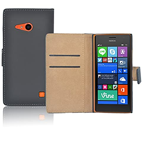 Nokia Lumia 735 Etui en Cuir - Housse Etui Portefeuille Pu Cuir Noir Pour Le Nokia Lumia 735 - thinkmobile
