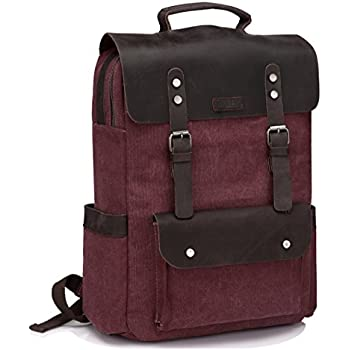 4e7fead47ec VASCHY Vintage Canvas Leather Backpack Campus Book-Bag Outdoor Recreation  fits 15.6in Laptop -Burgundy