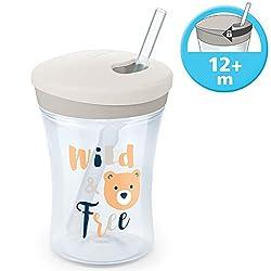 NUK Action Cup Trinklernflasche, weicher Trinkhalm, auslaufsicher, 12+ Monate, BPA-frei, 230ml, Bär (grau)