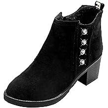 LuckyGirls Botas para Mujer Rhinestone Vintage Retro Botitas Botín Moda Zapatos de Tacón 6cm