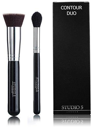 Contour Duo von Studio 5 Cosmetics - Pro Highlighter Pinsel und Kabuki - Contouring, Vermischen, Hervorheben