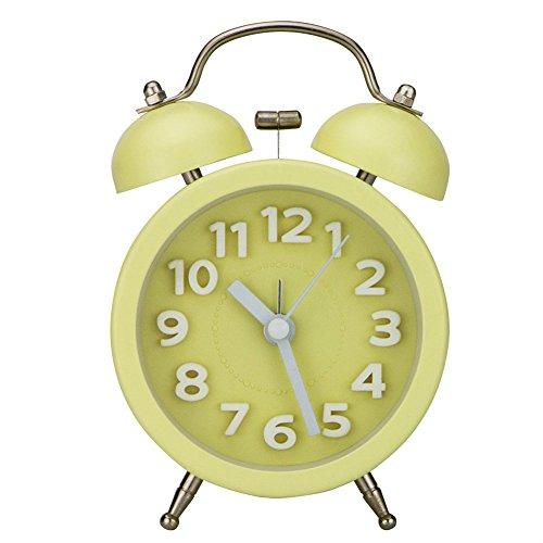 LOTOS Metallsüßigkeit Färbt Wecker-Persönlichkeits-Geschenk-Studenten-Bett-Stille Doppelte Bell-Faule Bell,Yellow