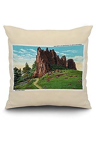 Boulder, Colorado - View of Red Rocks at Boulder Canon Entrance (20x20 Spun Polyester Pillow Case, Black Border)
