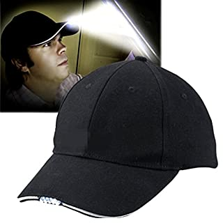 Aoneky Adjustable Baseball Cap with 5 LED Lights for Outdoors, Sports, Travel, Walk the Dogs, Working at Night, Unisex, Fit with Kids and Adult, Black