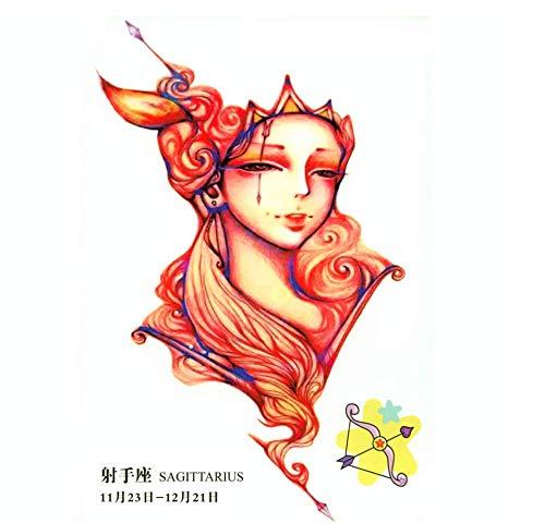 Ruofengpuzi 3 pezzi zodiacale sagittario temporanee uomo tatuaggio di trucco tatuaggio provvisorio adesivi tattoo maniche tatuaggio temporaneo